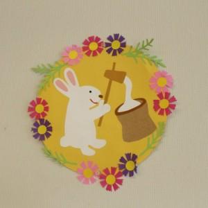 ウサギの餅つきの飾り物